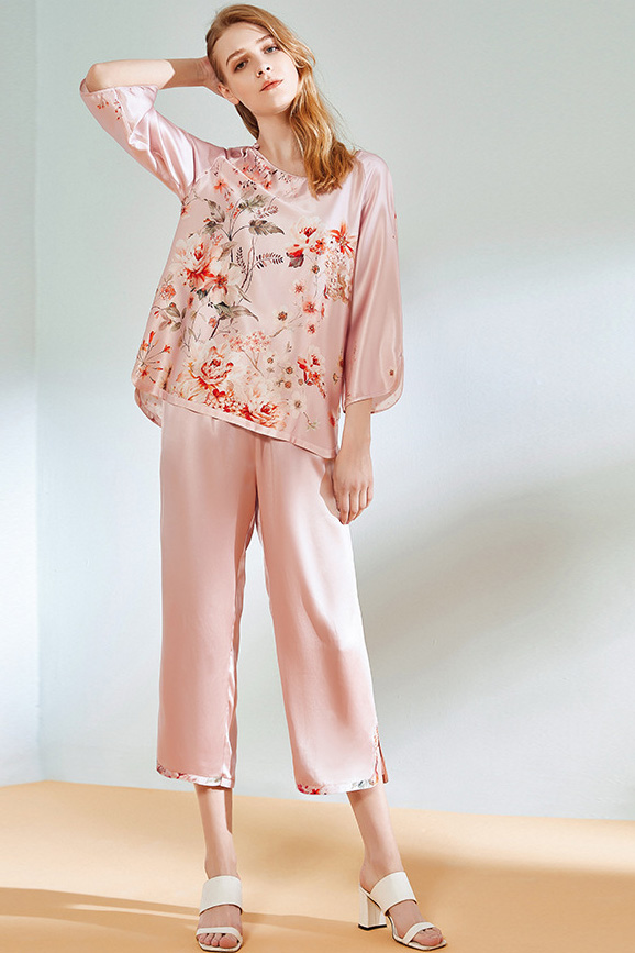 19 momme women crop sleeve peony satin silk pajamas set pink