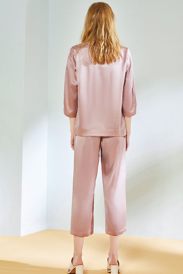 19 momme women crop sleeve and pants satin silk pajamas set