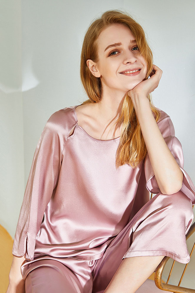 19 momme women crop sleeve and pants satin silk pajamas set pink