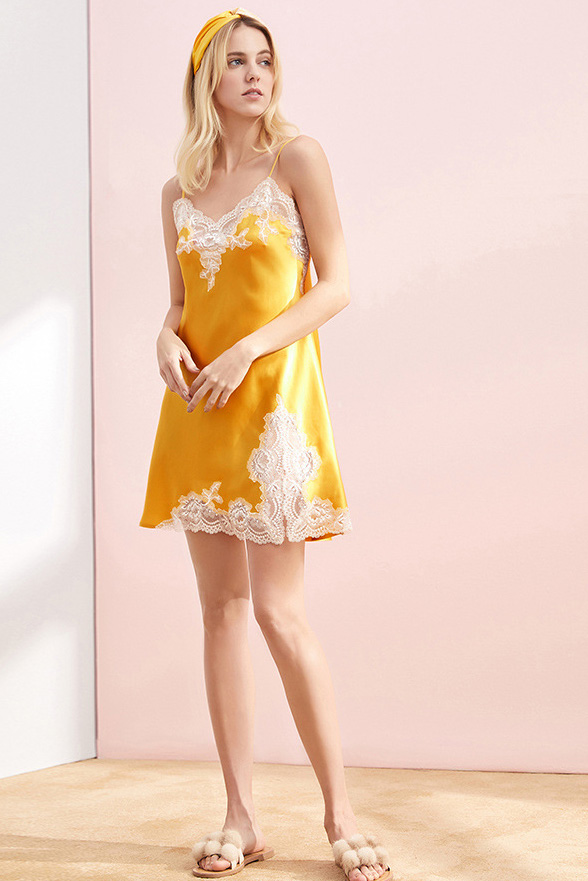 women silk lace and satin camisole sleepwear dress yellow