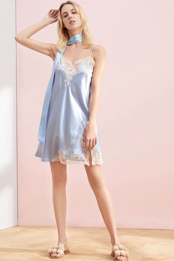 women silk lace and satin camisole sleepwear dress blue