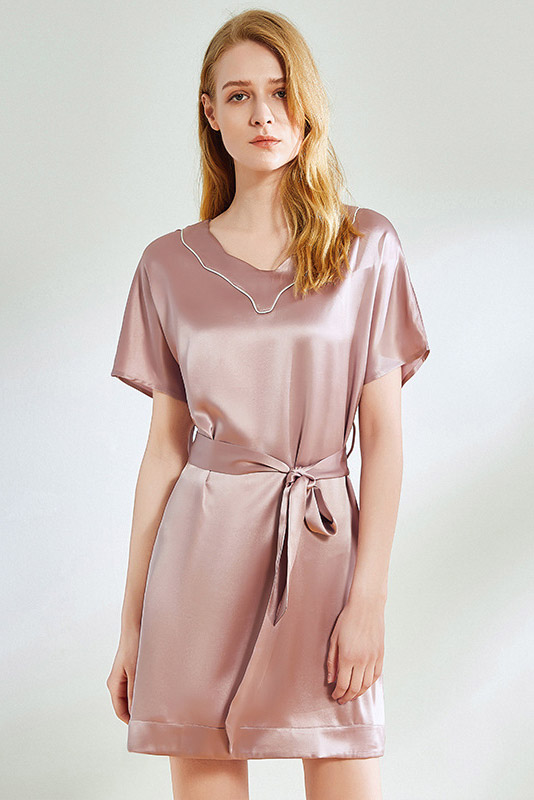 women silk short sleeve satin sleepwear dress pink