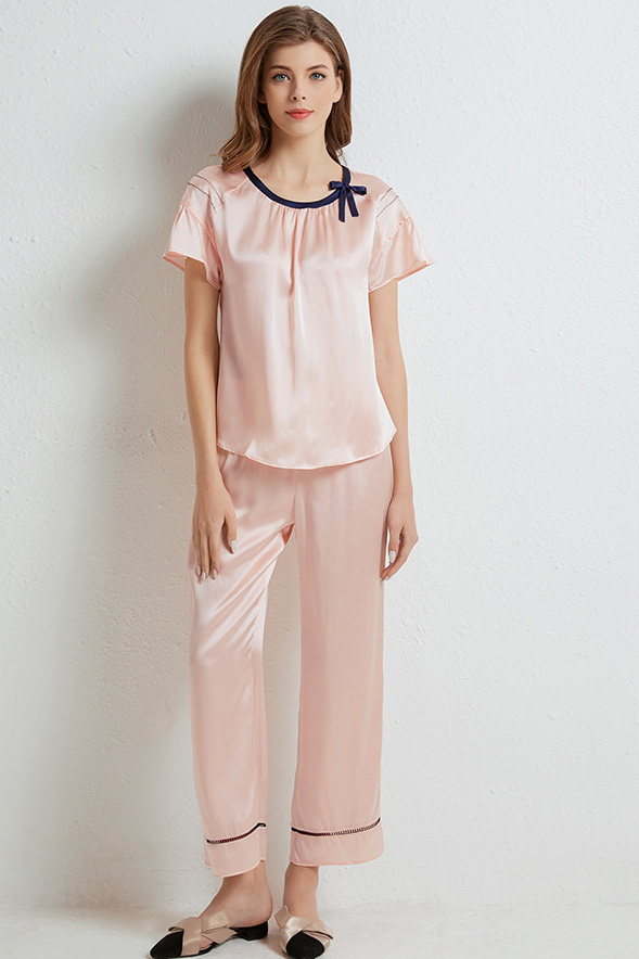 16 momme silk short sleeve and pants satin silk pajamas set pink