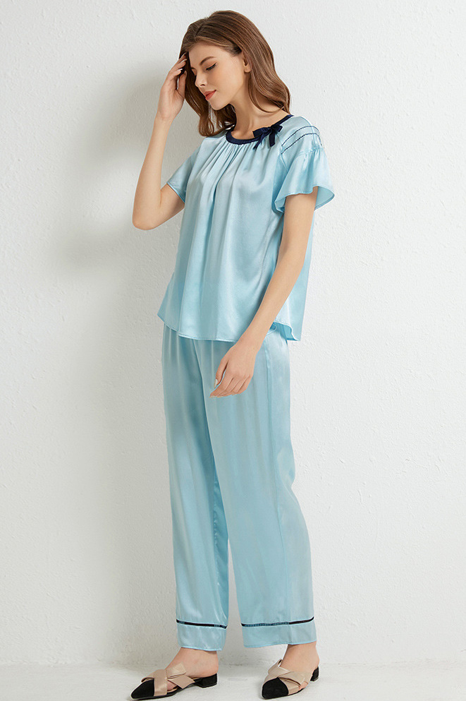 16 momme silk short sleeve and pants satin silk pajamas set blue