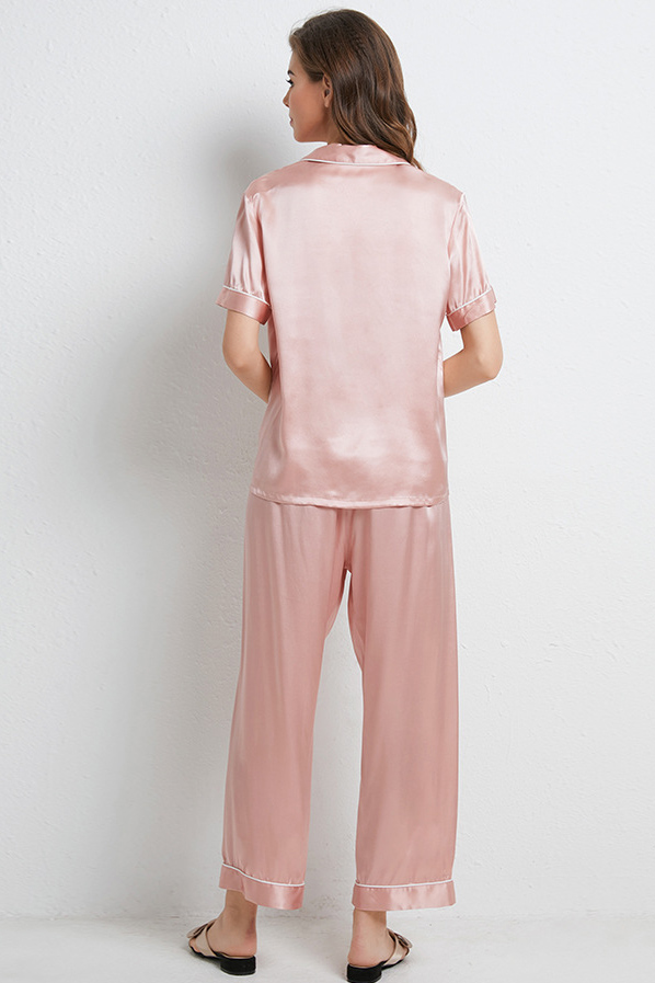16 Momme women short sleeve satin silk pajamas set pink
