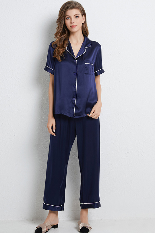 16 Momme women short sleeve satin silk pajamas set navy