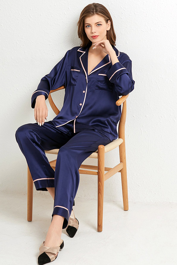 women color block silk satin long sleeve pajamas set navy