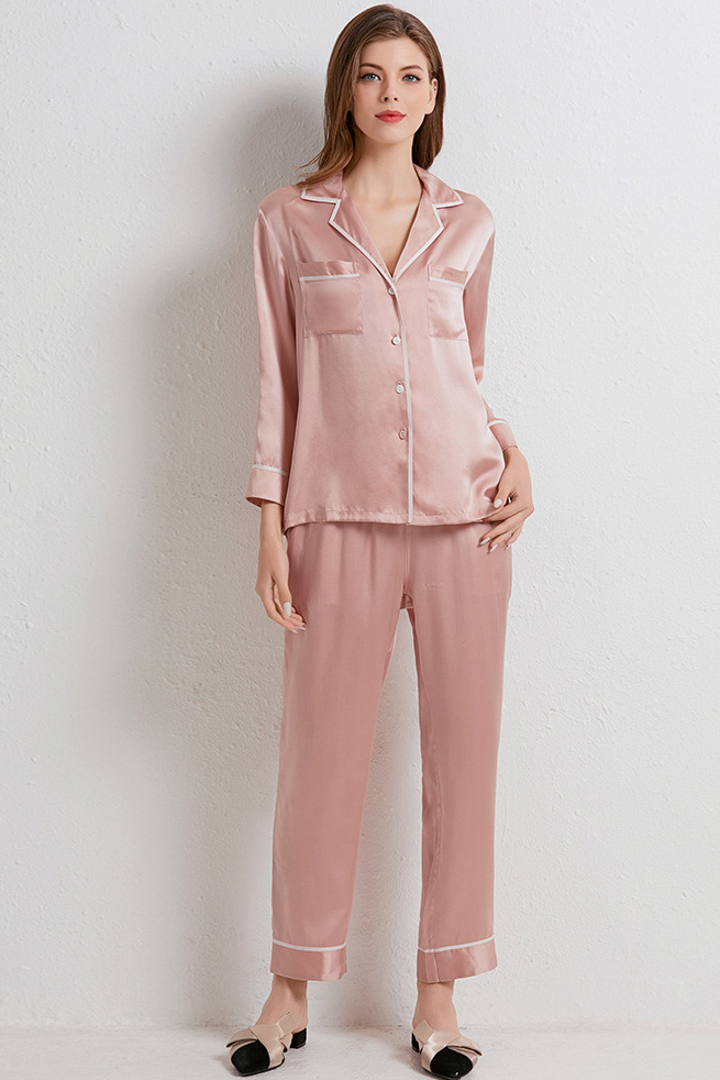 women color block silk satin long sleeve pajamas set pink