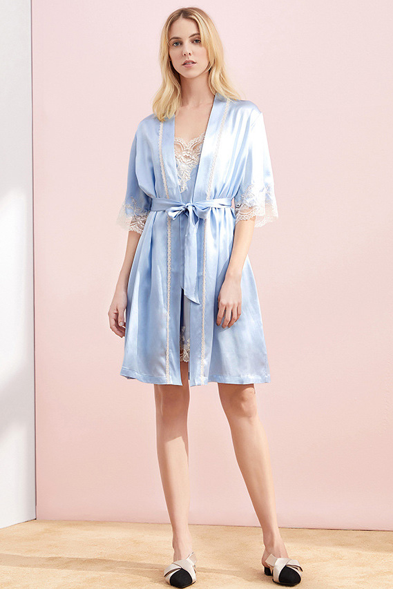 women satin and lace two piece silk camisole robe pajamas set