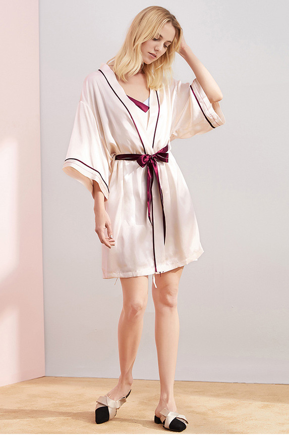 women silk color blocked camisole dress and robe pajamas set