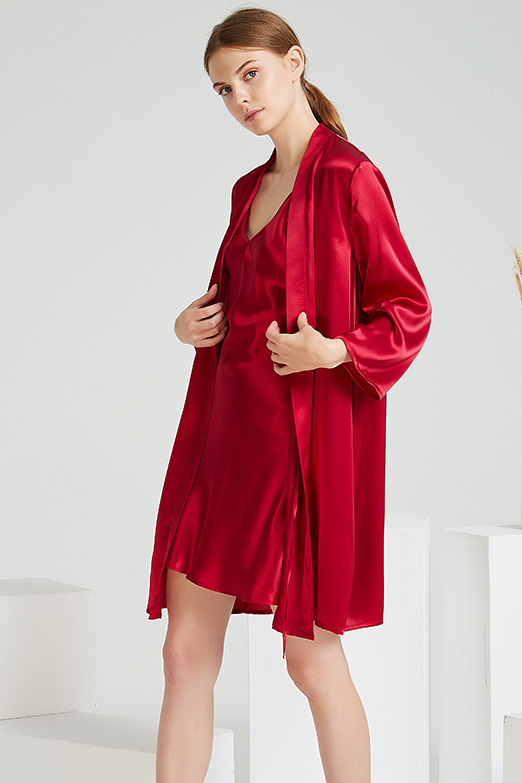 women satin two piece silk camisole robe pajamas set red