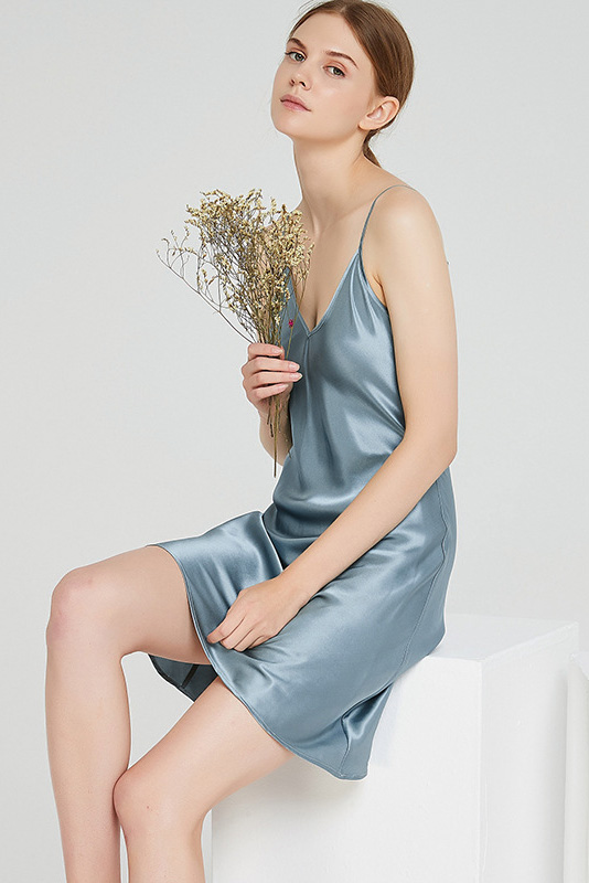 women silk and satin camisole sleepwear dress blue