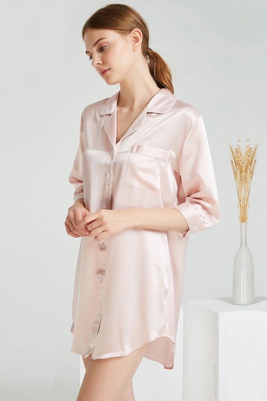 19 momme women crop sleeve pajamas silk shirt dress pink