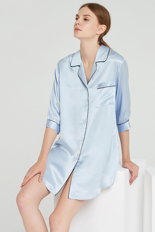 19 momme women crop sleeve silk pajamas shirt dress blue