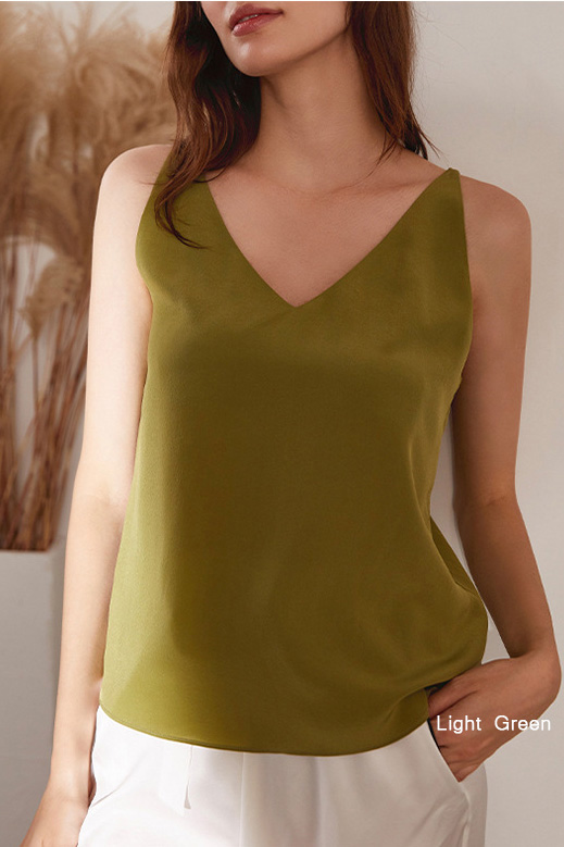 women multiple colors v neck silk straps tank top