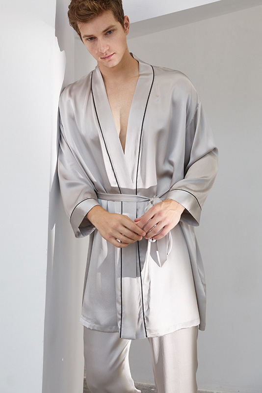 long sleeve satin silk pajamas robe and pants set for men grey