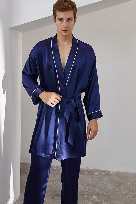 long sleeve satin silk pajamas robe and pants set for men navy
