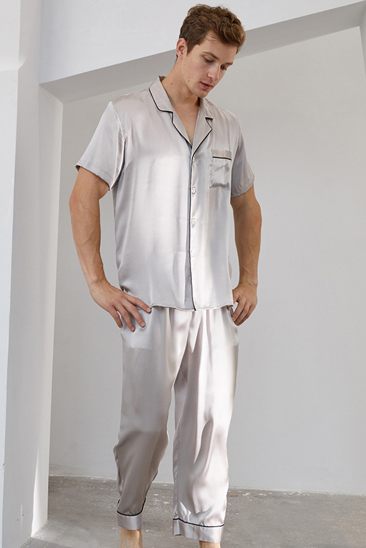 16 Momme short sleeve silk pajamas set for men grey