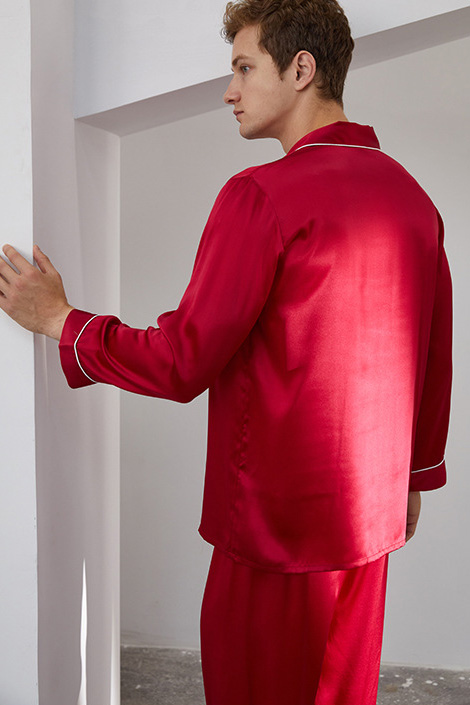 16 Momme long sleeve silk pajamas set for men red
