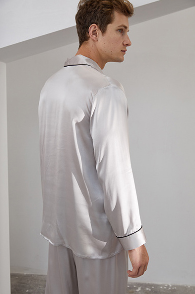 16 Momme long sleeve silk pajamas set for men grey