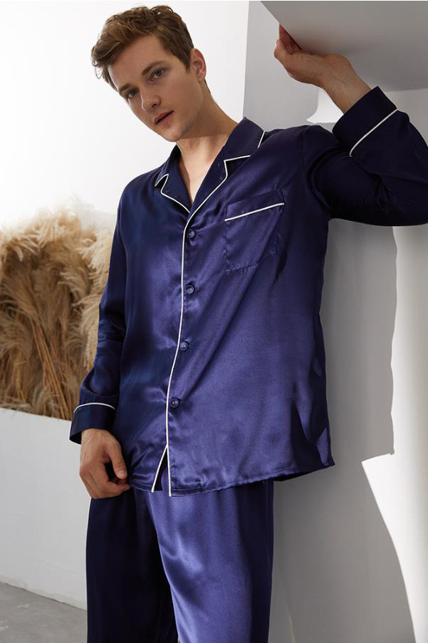 16 Momme long sleeve silk pajamas set for men navy