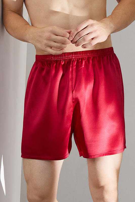 silk satin beach and homewear shorts for men red