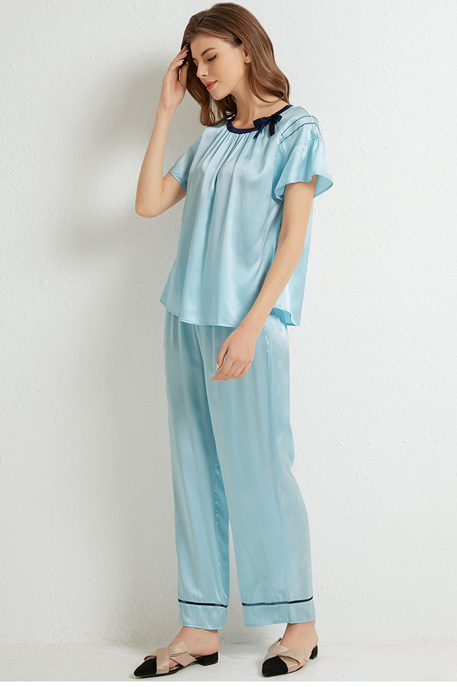 16 Momme summer silk pajamas set light blue