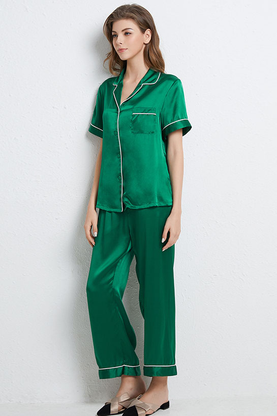 16 Momme summer silk pajamas set green