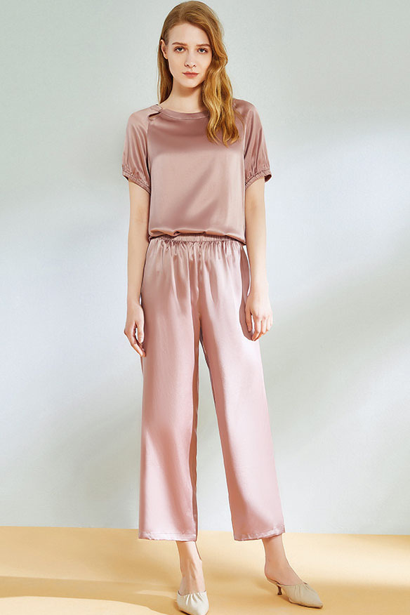 summer silk pajamas suit women pink