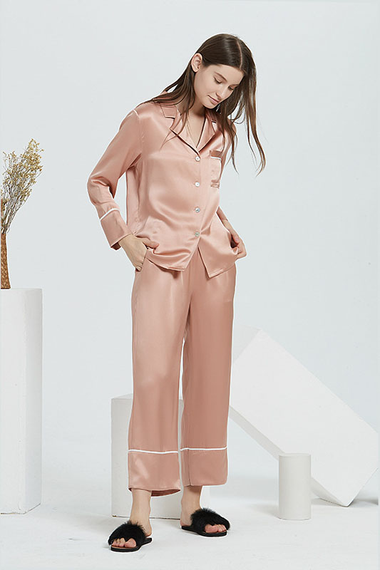19 Momme women satin silk pajamas set coral red