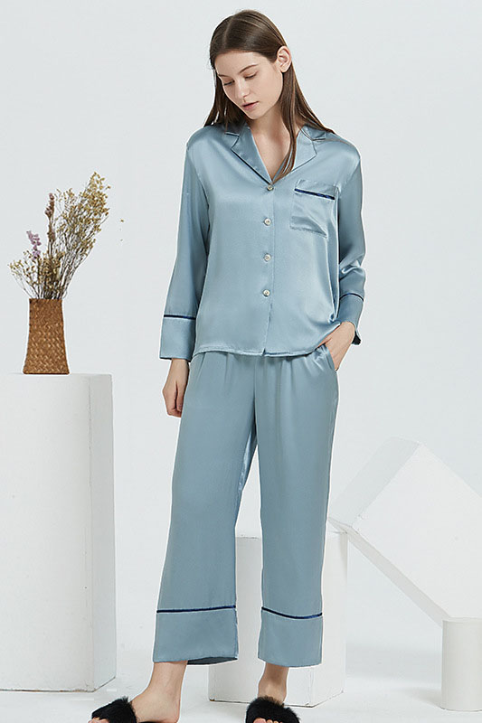 19 Momme silk pajamas set for women gray blue
