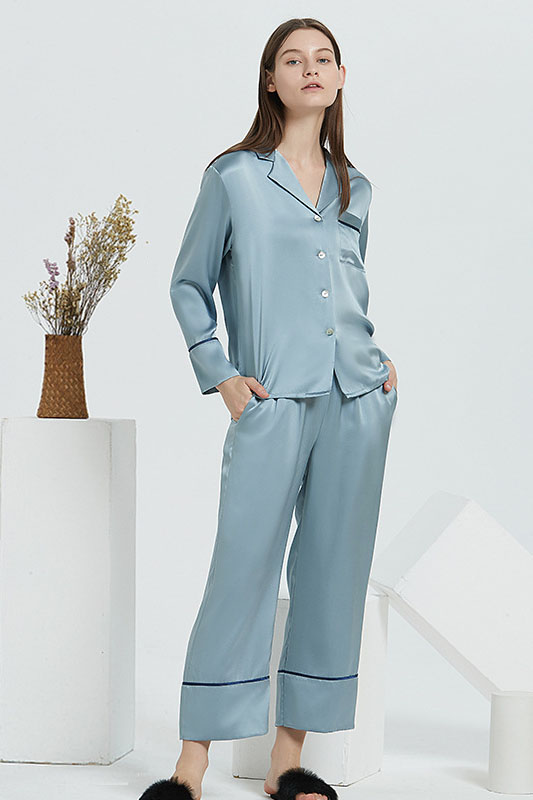 19 Momme women satin silk pajamas set gray blue