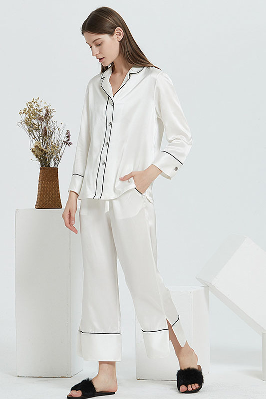 19 Momme Women Satin Color Blocked Silk Pajamas Set white