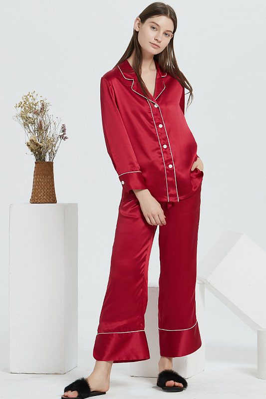 19 Momme Women Satin Color Blocked Silk Pajamas Set Wine