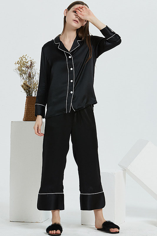 19 Momme women satin color blocked silk pajamas set black