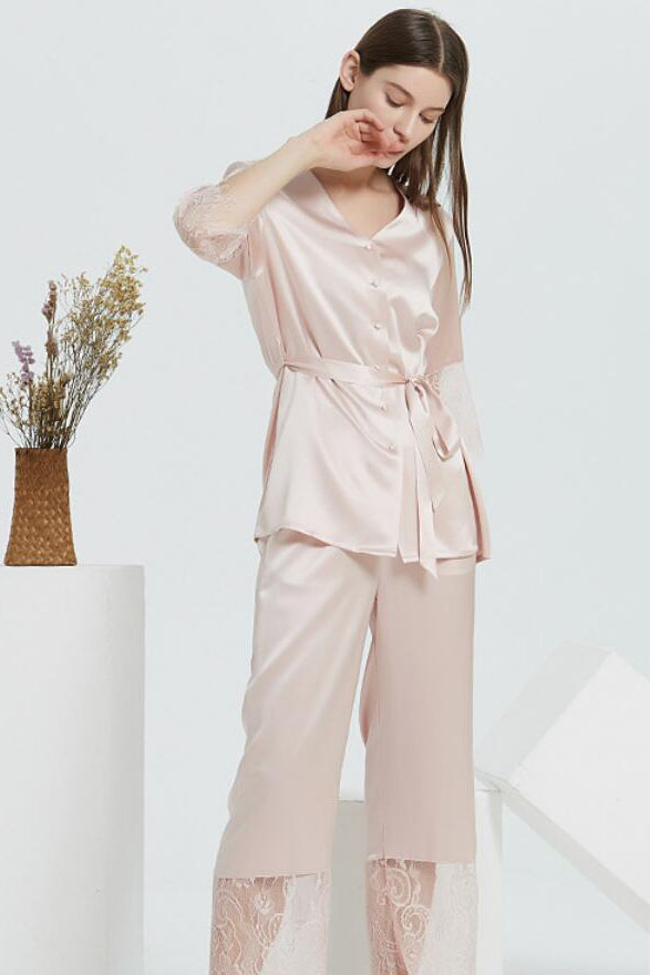 22 Momme silk lace and satin v neck pajamas set for women pink