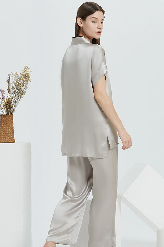 16 Momme silk v neck satin pajamas set for women grey