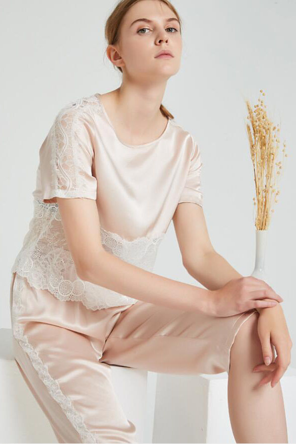16 Momme silk lace sheer pajamas set women apricot