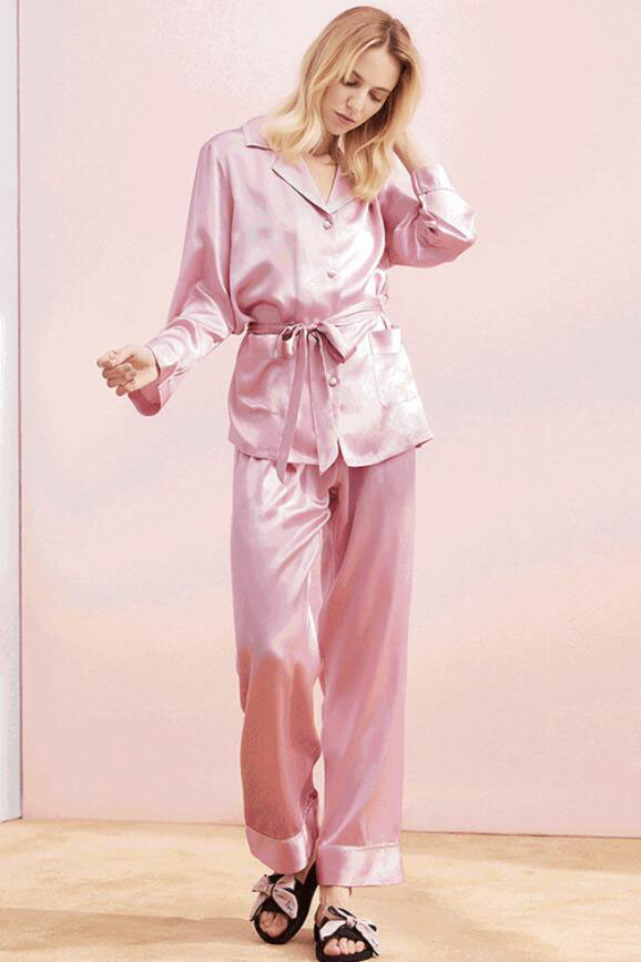 Women long sleeve waist belt satin silk pajamas set pink