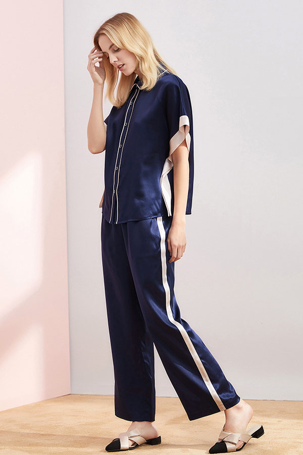 19 momme women short sleeve color blocked silk pajamas set navy