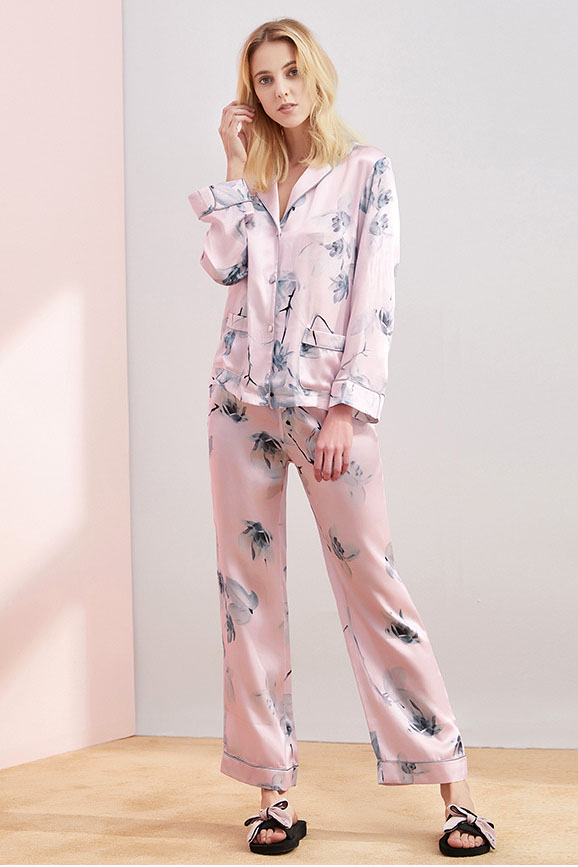 women tie dye print long sleeve silk pajamas set pink