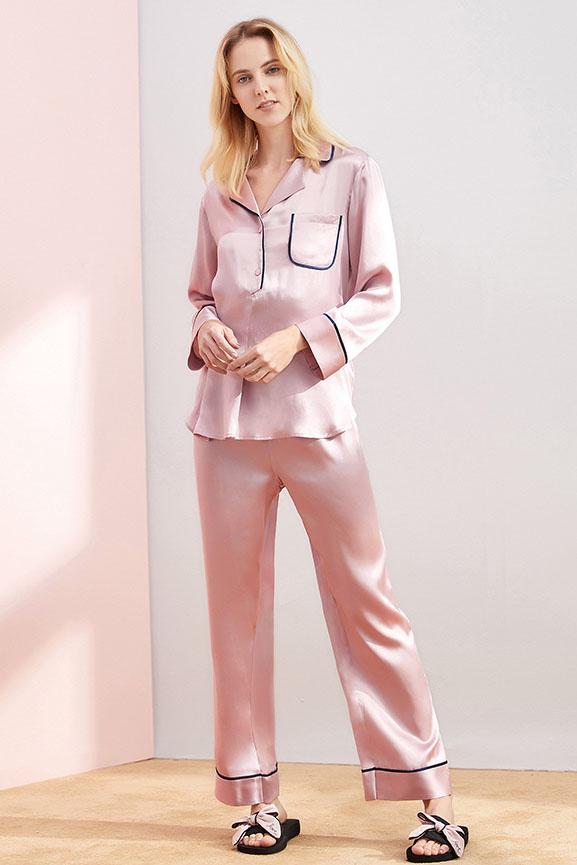 women long sleeve color block silk pajamas set pink