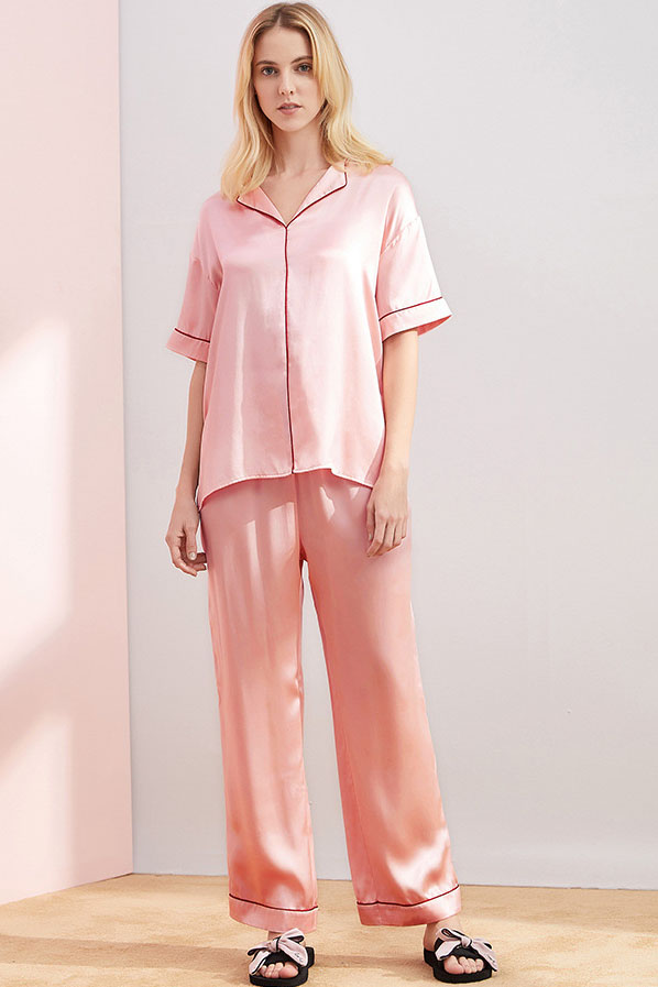 women short sleeve v neck satin silk pajamas set pink
