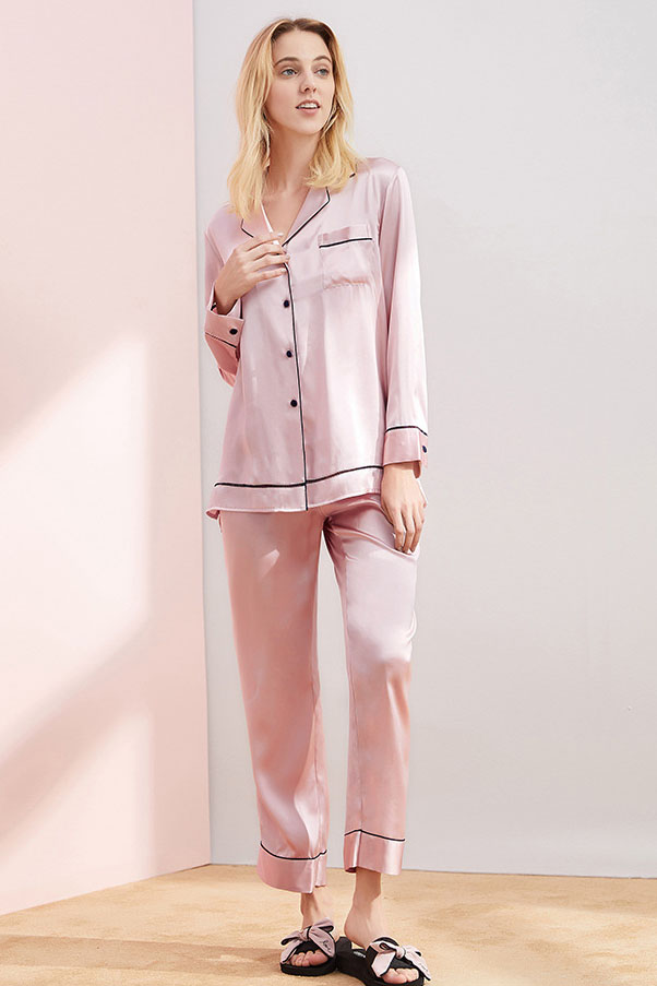 16 momme long sleeve women color blocked silk pajamas set pink