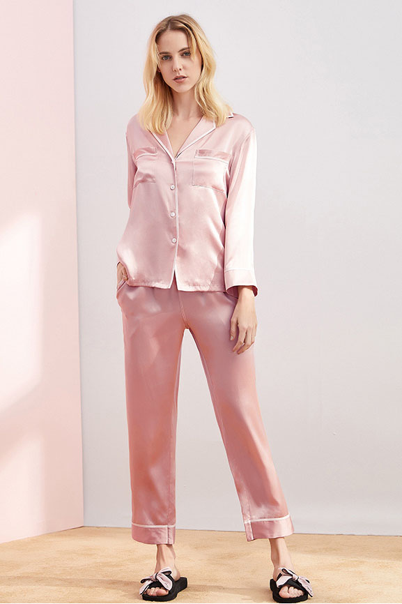 16 momme long sleeve women satin silk pajamas set pink