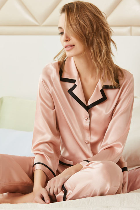 19 momme women long sleeve satin silk pajamas set pink